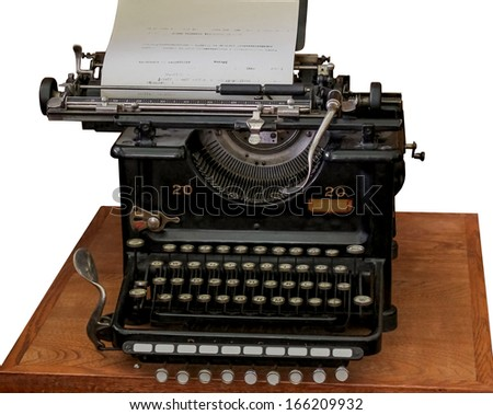old vintage type writer, isolated