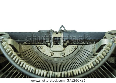 Old vintage typewriter with blank isolate background,on white background - can be used for display or type your message,Space for your text,share your story text on a paper list.  - stock photo