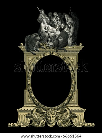 Old Vintage Victorian frame with Christmas. - stock photo
