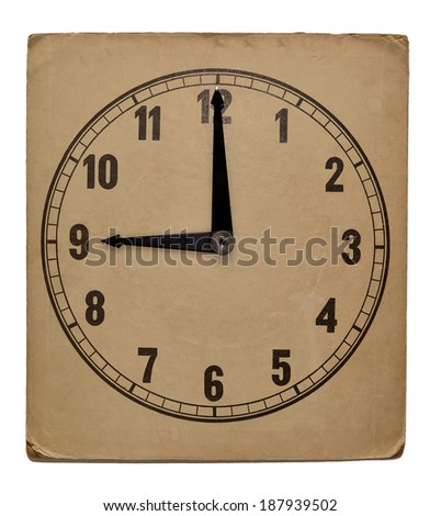 Old vintage wall clock isolated on white background. Showing 9 pm - stock photo