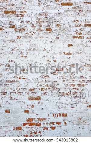 Old Vintage Wall Vertical Texture Red White Brick Background Decay Urban Surface