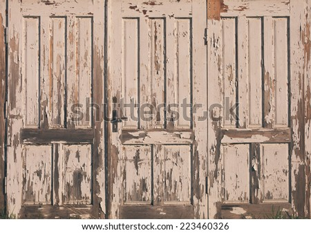 Old vintage wooden door with white paint - stock photo