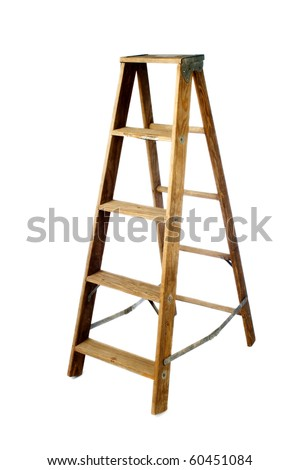 Old vintage wooden ladder on white
