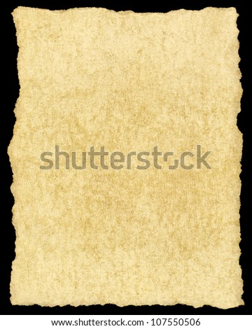 Old vintage yellowing torn paper isolated on black. - stock photo