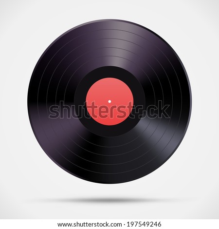 Old vinyl record, isolated on white