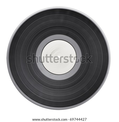 Old vinyl record isolated on white background with clipping path - stock photo
