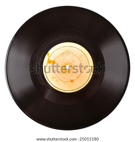old vinyl record with blank label isolated on white - stock photo