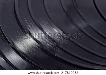 Old vinyl records close up