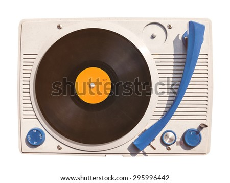 Old vinyl turntable player with record isolated on a white background - stock photo
