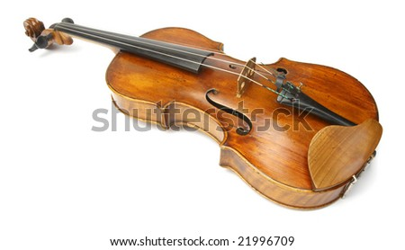 Old viola isolated on white - stock photo