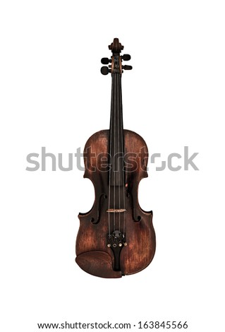 Old violin isolated on white - stock photo