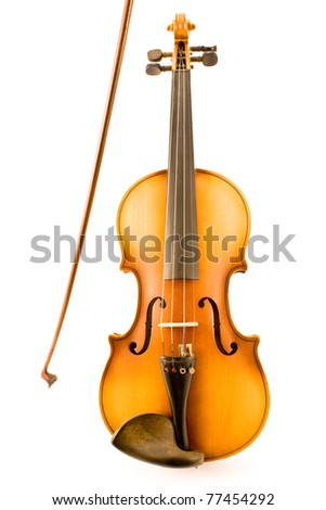 Old Violin with Bow isolated on white - stock photo