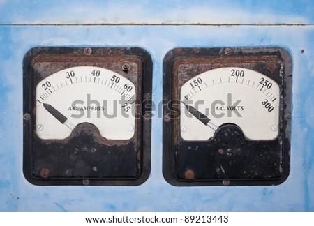 Old Voltage gauges - stock photo