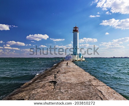 Old Vorontsov lighthouse in Odessa, Ukraine, Black sea.