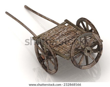 Old wagon cart with wooden wheels isolated on white background - stock photo