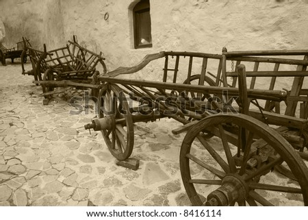 Old wagons at Rasnov fortress in Brasov County, Romania