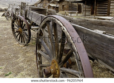 Old Wagons ln a Row - stock photo