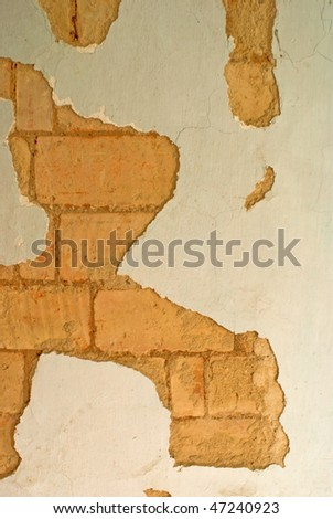old wall and collapsed stucco - stock photo