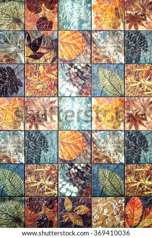 Old wall ceramic tiles patterns handcraft from thailand parks public.                          - stock photo