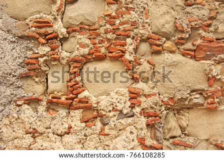 Old Wall Big Small Stones Terracotta Stock Photo (Edit Now ...