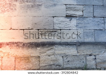 Old wall with blocks of stones, background. Different styles background textures.