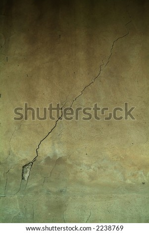 old wall with perfect crack - stock photo