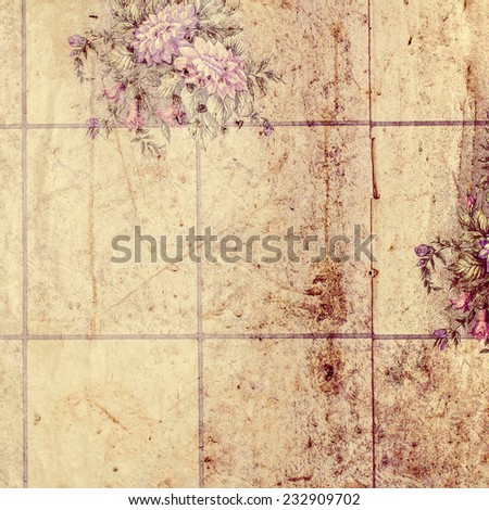 old wall with wallpaper - stock photo