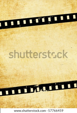 Old wallpaper with film strip - stock photo