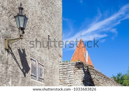 Old walls, sky and tower in Old Tallinn