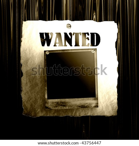 Old Wanted Poster On Wood With Blank Old Photo Frame - stock photo
