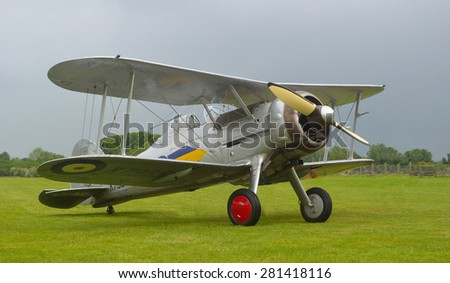 OLD WARDEN, BEDFORDSHIRE, ENGLAND - MAY 24, 2015: Gloster Gladiator aircraft outside on airfield