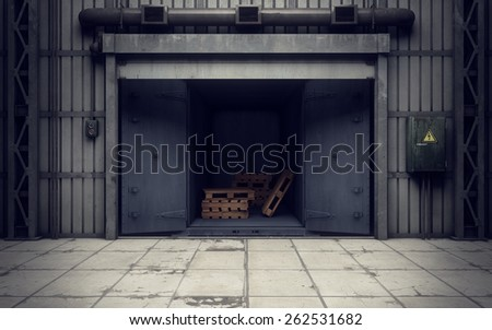 Old warehouse loading dock inside. 3D rendering - stock photo