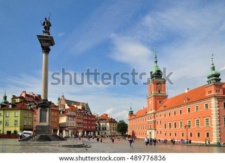 Old Warsaw town, buildings architecture Poland