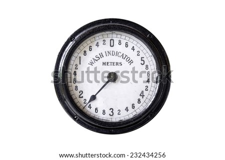 old wash indicator in meters unit. use for water works, Thaiand - stock photo