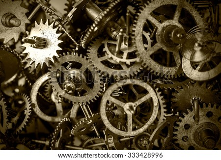 Old watch gears background  - stock photo