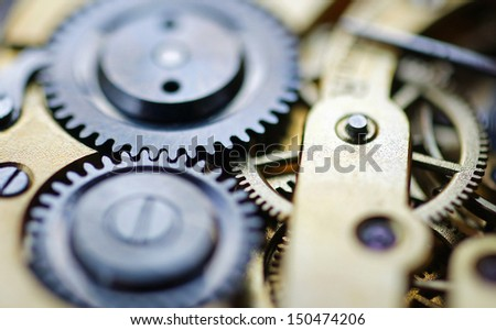Old Watch Mechanism - stock photo