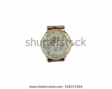 Old watch with leather on white background - stock photo