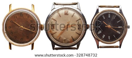 Old watches isolated on white background