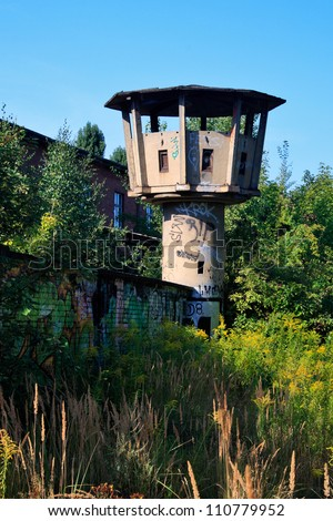 old Watchtower in East Berlin - stock photo
