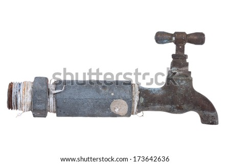 Old Water Faucet, isolate on white background. - stock photo