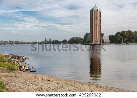 Old water tower near lake in Aalsmeer, The Netherlands