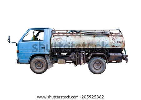 Old water truck on a white background. - stock photo