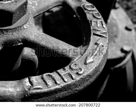 old water valve fragment in black and white - stock photo