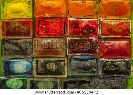 Old watercolor paints - stock photo