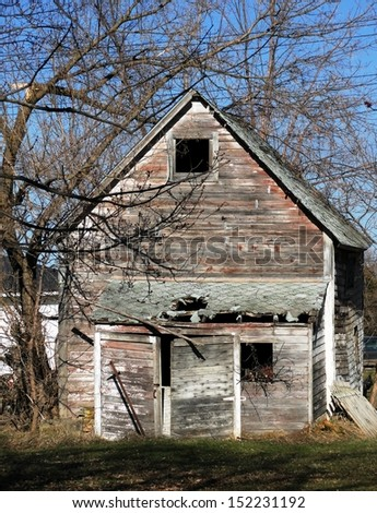 old weathered abandoned building house