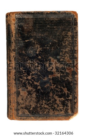 Old weathered book, isolated on white - stock photo