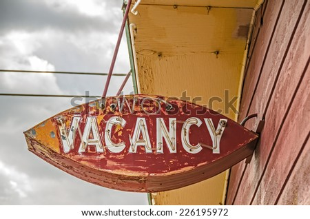 Old, weathered, neon no vacancy sign for a former motel on Route 66 - stock photo