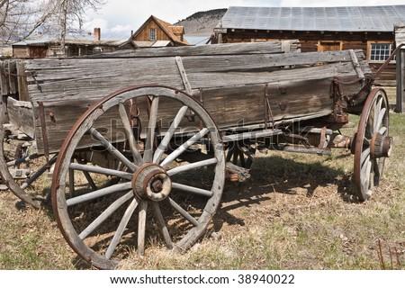 Old weathered wagon in the Montana ghost town of Nevada City