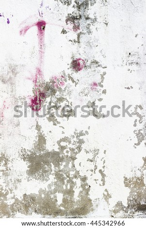 Old weathered white cement wall for design - stock photo