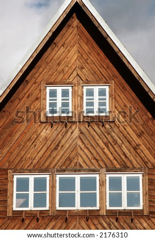 Old weekend house - cottage. - stock photo